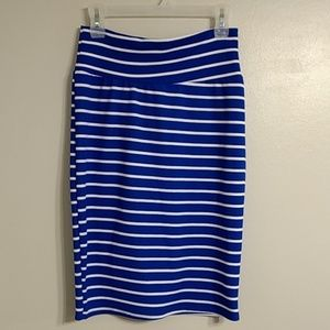 LulaRoe Cassie Blue White Stripe Pencil Skirt M